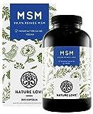 NATURE LOVE MSM Kapseln - 365 Kapseln (6 Monate). Laborgeprüft. 1600mg MSM Pulver je Tagesdosis. Organischer Schwefel. Hochdosiert, vegan, hergestellt in Deutschland