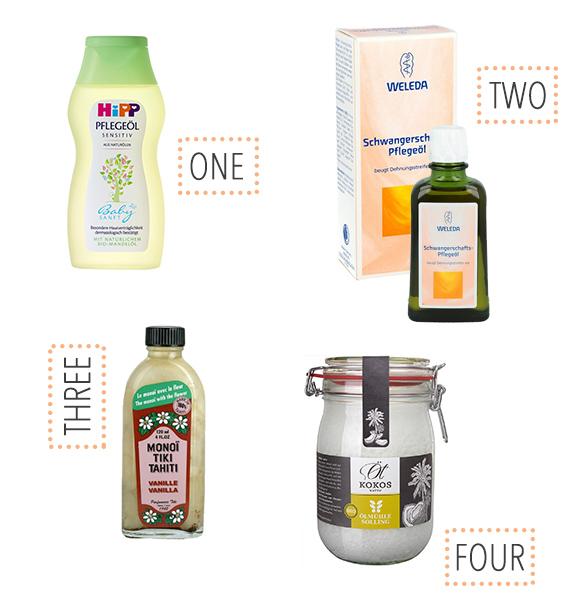 Gute Plegeprodukte / Haut-Öle für den Babybauch