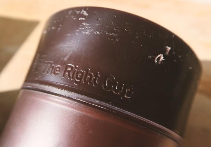 The Right Cup mit Zahnabdrücke
