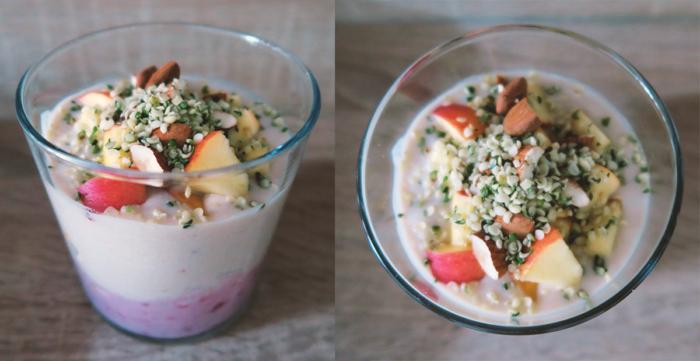 Bananen-Himbeer-Kokosjoghurt zum Frühstück