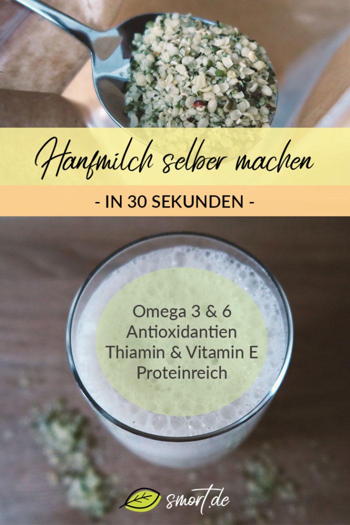 Gesunde Hanfmilch selber machen - ganz einfach, ohne Aufwand in nur 30 Sekunden. Eine tolle vegane Milchalternative zu handelsüblicher Kuhmilch. Mit Hanfmilch kann man auch ganz einfach gesunden Kakao machen. Hanfmilch ist reich an essentiellen Fettsäuren Omega-3 und Omega-6 (Gamma-Linolensäure). Neben Antioxidantien enthalten sie Thiamin und Vitamin E, sogenannte B-Vitamine und Mineralien wie Kalium, Magnesium, Schwefel, Eisen, Calcium und Phosphor.