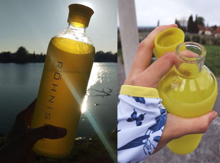 Flasche aus Glas mit Silikonüberzug