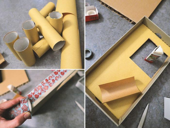 Spielzeug selbst machen für Kleinkinder - ein Parkhaus aus Pappe
