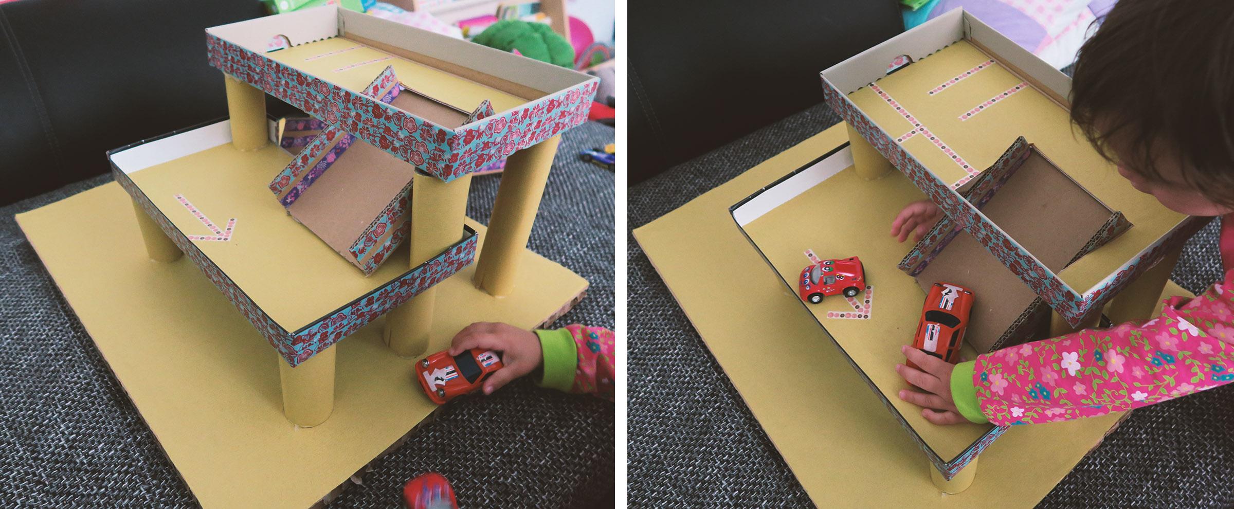 spielzeug selber machen kleinkind parkhaus aus pappe