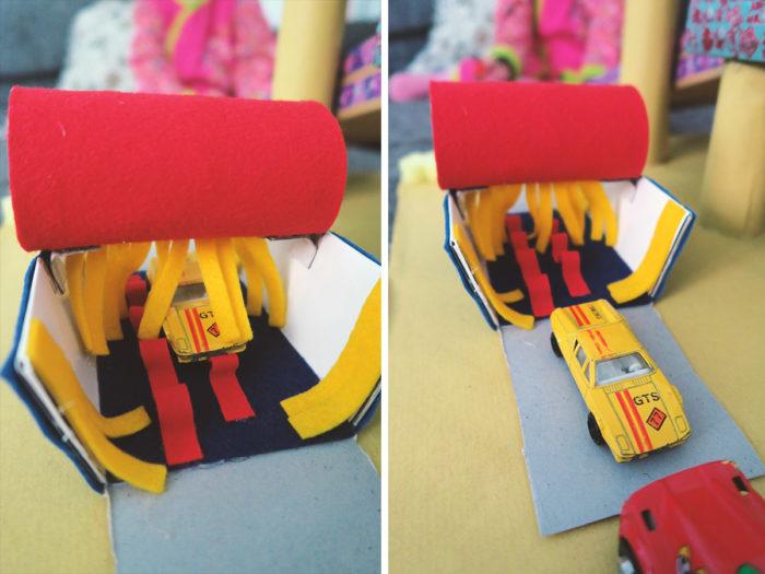 Nachhaltiges Spielzeug selbst machen - eine Auto-Waschanlage für Spielzeugautos