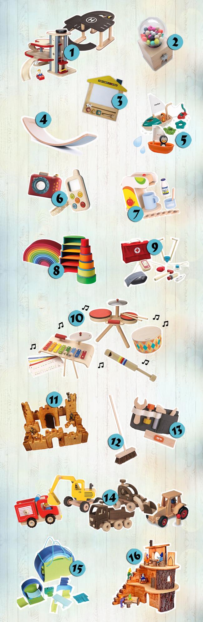 Außergewöhnliches und sinnvolles Holzspielzeug für 2-3 Jährige