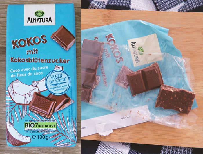 ALNATURA KOKOS gesunde Schokolade mit Kokosblütenzucker Vegan Vergleich Test