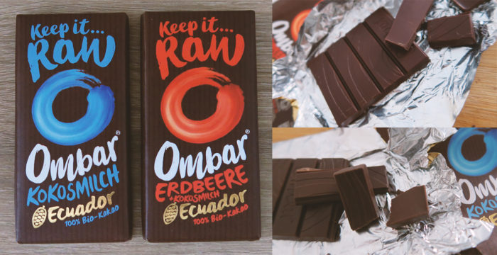 OMBAR Kokosmilch Erdbeere gesunde Schokolade mit Kokosblütenzucker Test