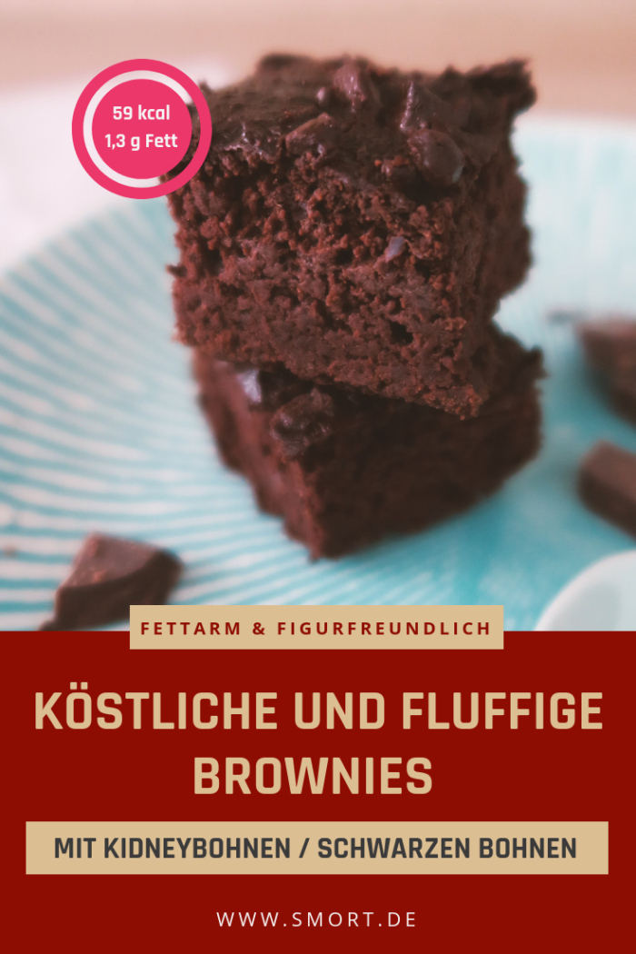 Köstliche fluffige Brownies mit Bohnen – fettarm & ohne weißen Zucker