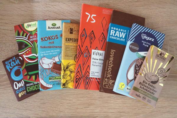 Test Vergleich gesunde Schokolade mit Kokosblütenzucker Bio Vegan