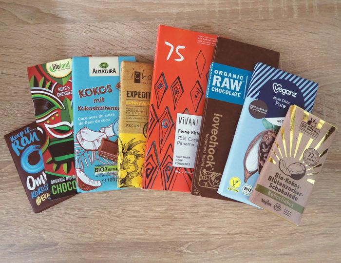 Test: Vergleich gesunde Schokolade mit Kokosblütenzucker Bio Vegan