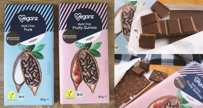 Veganz Schokolade mit Kokosblütenzucker - Mylk Choc Pure und Mylk Choc Fruity Quinoa