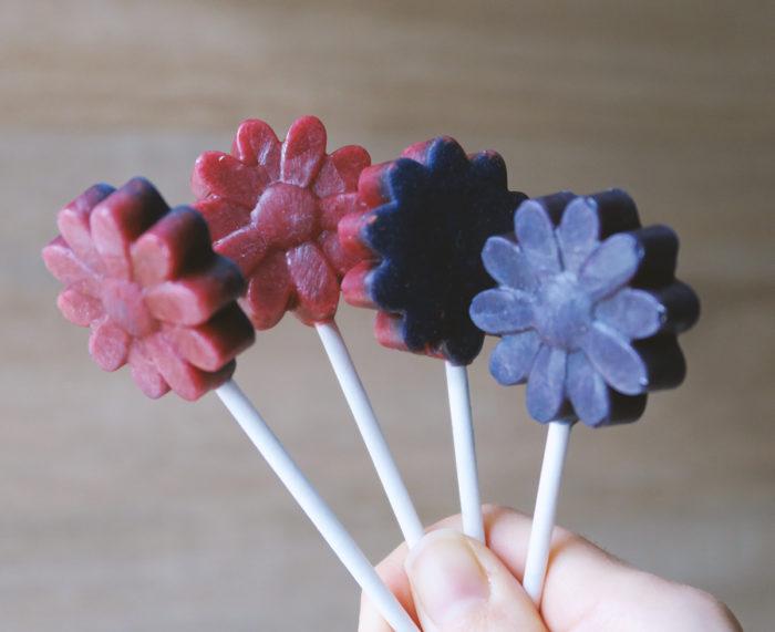 Anleitung für fruchtige selbstgemachte Lollies mit Xylit, Fruchtpulver (Himbeere) und blauem Spirulina - für Kinder und Erwachsene | DIY