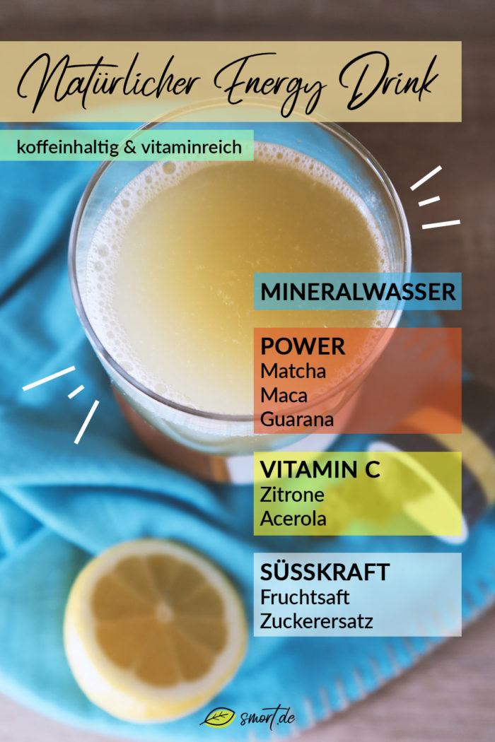 Energy Drink selber machen mit natürlichem Koffein aus Guarana & Matcha | Rezepte für koffeinhaltige Getränke & gesunde Kaffee-Alternativen | schnell & einfach | DIY #zuckerfrei