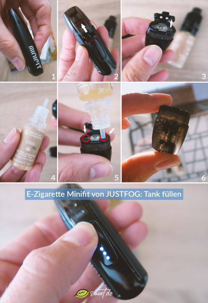 E-Zigarette Minifit von JUSTFOG: Anleitung zum Tank befüllen