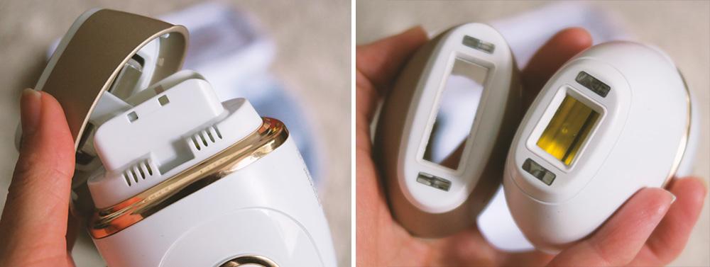 IPL-Gerät Braun Silk-expert Pro 5 PL5137: 2x Aufsätze, die sich durch Druck/Hochschieben leicht entfernen lassen. Der Schmalere ist für kleinere oder schwierigere Bereiche wie Gesicht, Bikini und Achselhöhlen